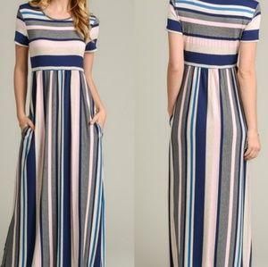 Stripe Maxi Dress with  pockets
